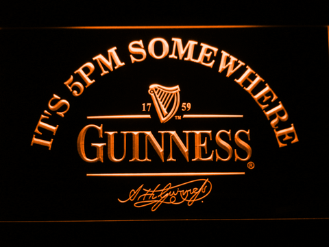 Image of Guinness Signature It's 5pm Somewhere LED Neon Sign - Orange - SafeSpecial