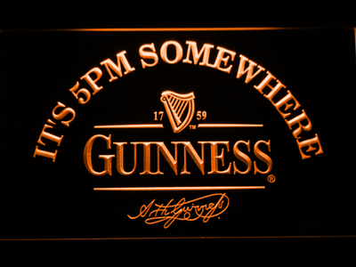 Guinness Signature It's 5pm Somewhere LED Neon Sign - Orange - SafeSpecial