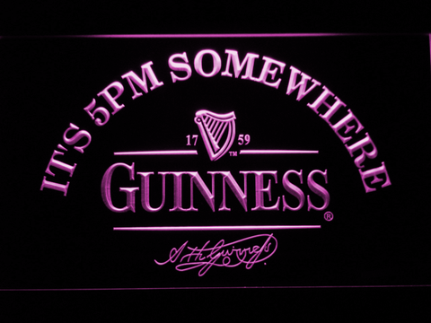 Image of Guinness Signature It's 5pm Somewhere LED Neon Sign - Purple - SafeSpecial