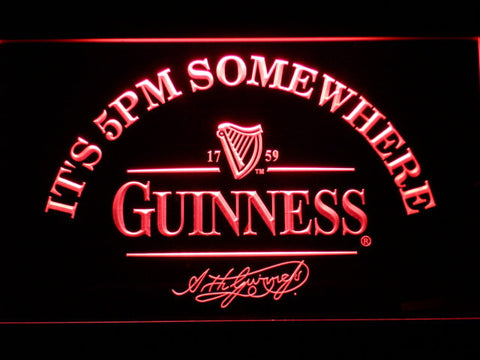 Image of Guinness Signature It's 5pm Somewhere LED Neon Sign - Red - SafeSpecial