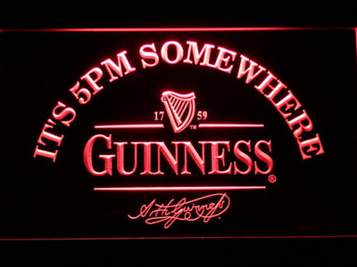 Guinness Signature It's 5pm Somewhere LED Neon Sign - Red - SafeSpecial