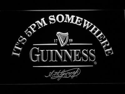 Guinness Signature It's 5pm Somewhere LED Neon Sign - White - SafeSpecial
