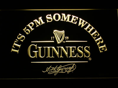 Guinness Signature It's 5pm Somewhere LED Neon Sign - Yellow - SafeSpecial