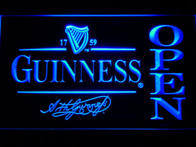 Guinness Signature Open LED Neon Sign - Blue - SafeSpecial