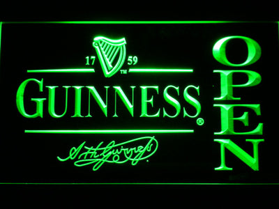 Guinness Signature Open LED Neon Sign - Green - SafeSpecial