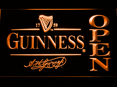 Guinness Signature Open LED Neon Sign - Orange - SafeSpecial