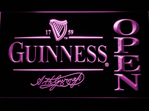 Image of Guinness Signature Open LED Neon Sign - Purple - SafeSpecial