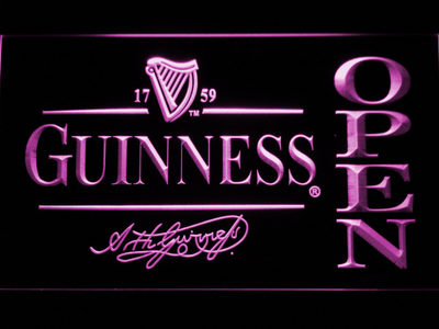 Guinness Signature Open LED Neon Sign - Purple - SafeSpecial
