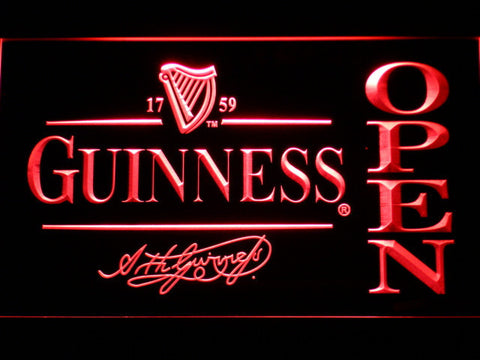 Image of Guinness Signature Open LED Neon Sign - Red - SafeSpecial