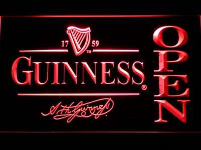 Guinness Signature Open LED Neon Sign - Red - SafeSpecial