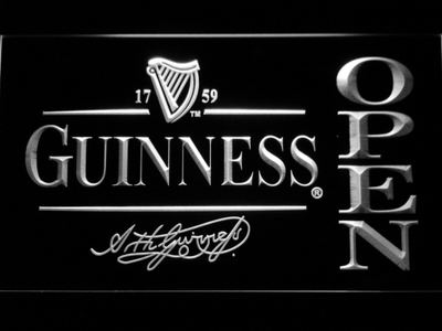 Guinness Signature Open LED Neon Sign - White - SafeSpecial
