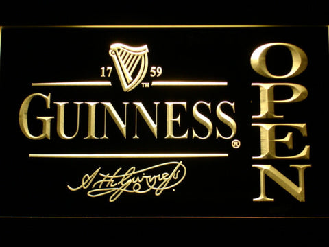 Image of Guinness Signature Open LED Neon Sign - Yellow - SafeSpecial