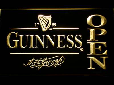 Guinness Signature Open LED Neon Sign - Yellow - SafeSpecial
