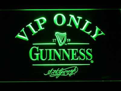 Guinness Signature VIP Only LED Neon Sign - Green - SafeSpecial