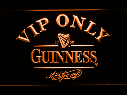 Image of Guinness Signature VIP Only LED Neon Sign - Orange - SafeSpecial