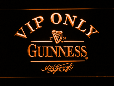 Guinness Signature VIP Only LED Neon Sign - Orange - SafeSpecial