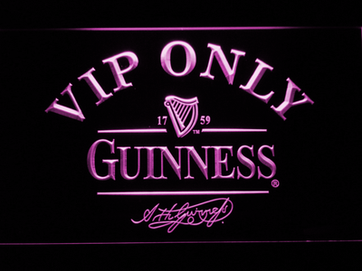 Guinness Signature VIP Only LED Neon Sign - Purple - SafeSpecial