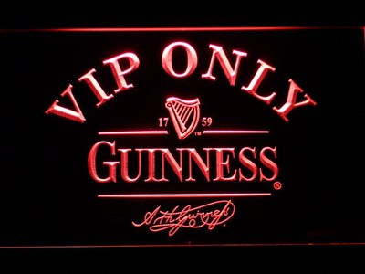 Guinness Signature VIP Only LED Neon Sign - Red - SafeSpecial