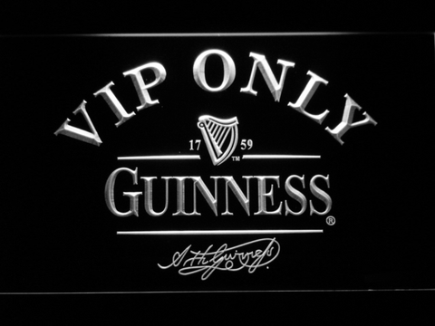 Image of Guinness Signature VIP Only LED Neon Sign - White - SafeSpecial