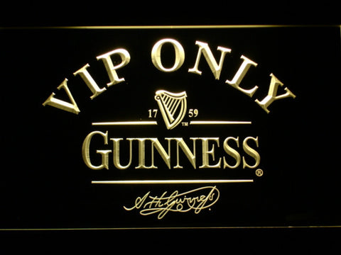 Image of Guinness Signature VIP Only LED Neon Sign - Yellow - SafeSpecial