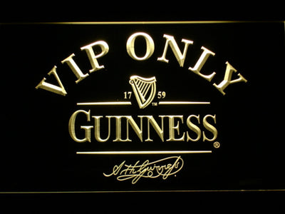 Guinness Signature VIP Only LED Neon Sign - Yellow - SafeSpecial