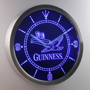 Guinness Toucan LED Neon Wall Clock - Blue - SafeSpecial
