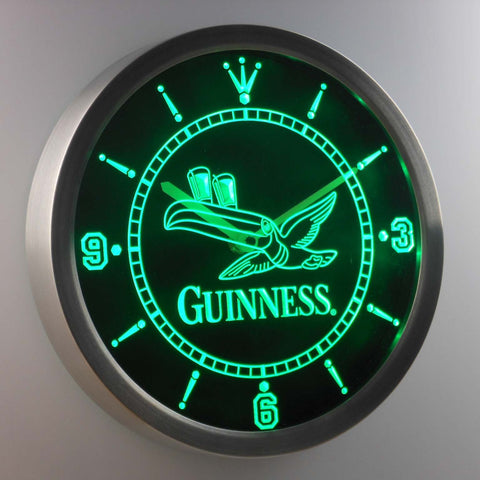 Image of Guinness Toucan LED Neon Wall Clock - Green - SafeSpecial