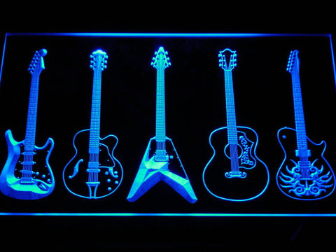 Guitar LED Neon Sign - Blue - SafeSpecial