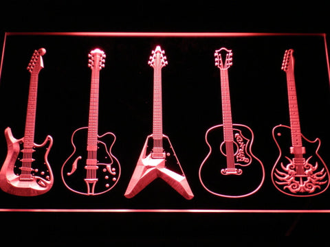 Guitar LED Neon Sign - Red - SafeSpecial