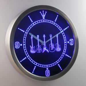 Guitars 1 LED Neon Wall Clock - Blue - SafeSpecial