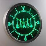 Guitars 1 LED Neon Wall Clock - Green - SafeSpecial