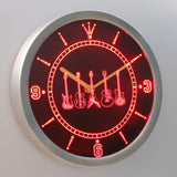 Guitars 1 LED Neon Wall Clock - Red - SafeSpecial