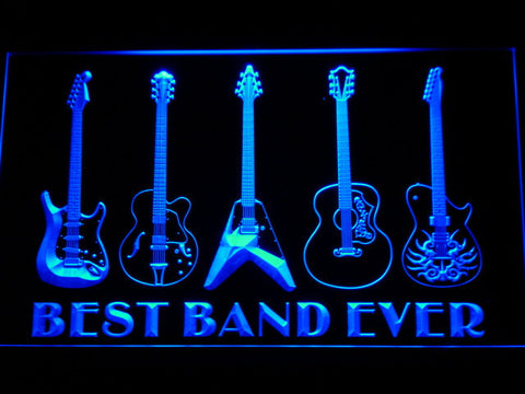Guitars Best Band Ever LED Neon Sign - Blue - SafeSpecial