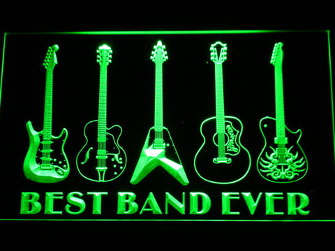 Guitars Best Band Ever LED Neon Sign - Green - SafeSpecial
