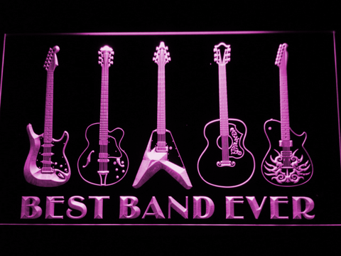 Guitars Best Band Ever LED Neon Sign - Purple - SafeSpecial