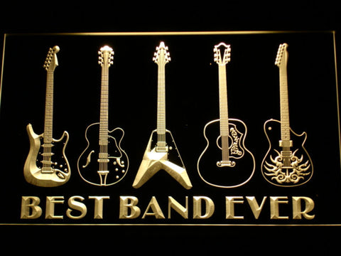 Guitars Best Band Ever LED Neon Sign - Yellow - SafeSpecial