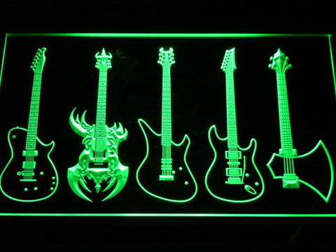 Image of Guitars Classic to Custom LED Neon Sign - Green - SafeSpecial