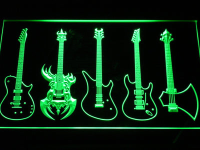 Guitars Classic to Custom LED Neon Sign - Green - SafeSpecial