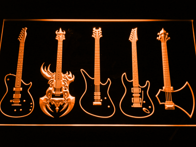 Guitars Classic to Custom LED Neon Sign - Orange - SafeSpecial