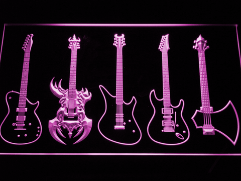 Guitars Classic to Custom LED Neon Sign - Purple - SafeSpecial