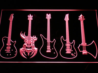 Guitars Classic to Custom LED Neon Sign - Red - SafeSpecial