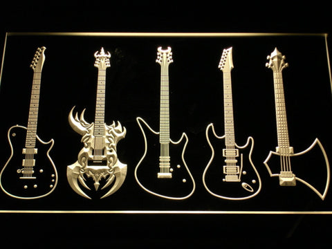 Image of Guitars Classic to Custom LED Neon Sign - Yellow - SafeSpecial
