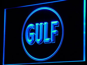 Gulf Gasoline LED Neon Sign - Blue - SafeSpecial