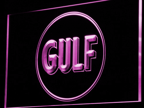 Gulf Gasoline LED Neon Sign - Purple - SafeSpecial