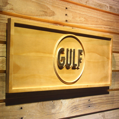 Image of Gulf Gasoline Wooden Sign - - SafeSpecial