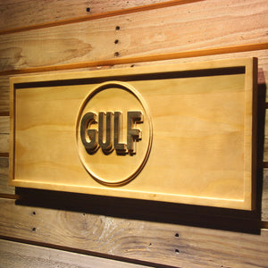 Gulf Gasoline Wooden Sign - - SafeSpecial