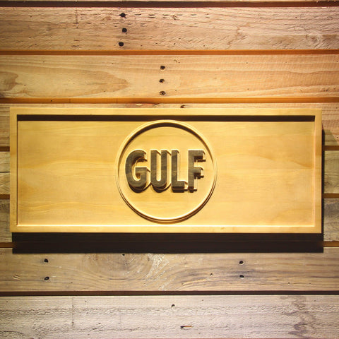 Image of Gulf Gasoline Wooden Sign - Small - SafeSpecial