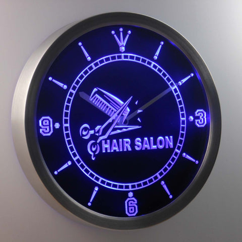 Image of Hair salon LED Neon Wall Clock - Blue - SafeSpecial