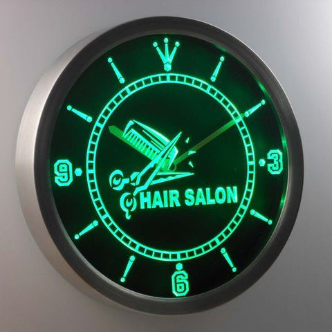 Image of Hair salon LED Neon Wall Clock - Green - SafeSpecial
