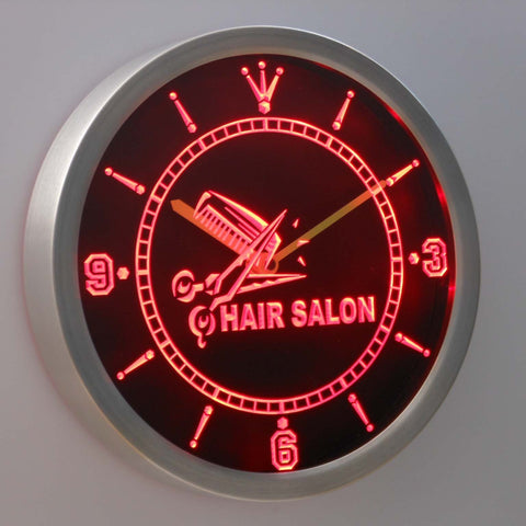 Hair salon LED Neon Wall Clock - Red - SafeSpecial